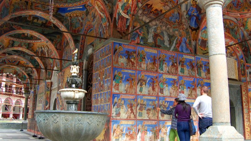 The richly decorated frescoes at Rila Monastery