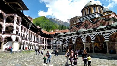 The cobbled inner courtyard of Rila Monastery