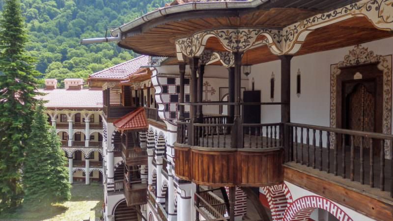 rila monastery, view from the second floor, stone walls, chapels, monastic cells, rila monastery tour from sofia