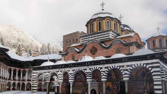 rila monastery winter