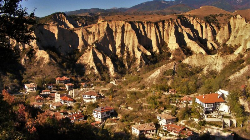 earth pyramids, view from above, houses, autumn, mountain
