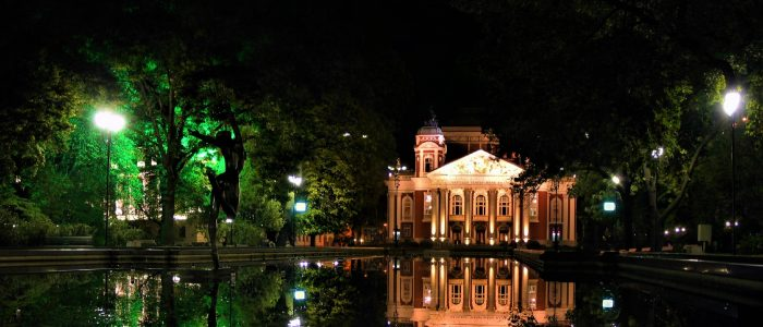 National Theatre, Sofia, pond, fountains, lights, night, statue