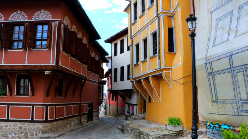 old vintage houses, colorful, old town, plovdiv, red, yellow, white, streets, architecture