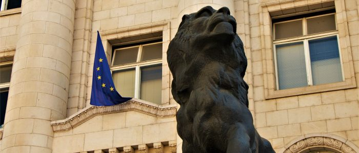 Sofia, lion, statue, european union, flag, court